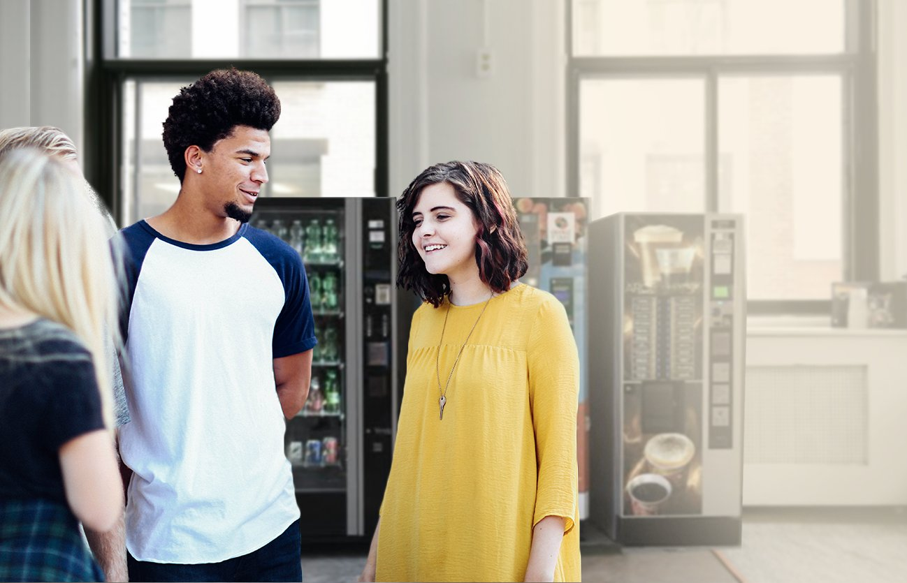 Young people in front of vending machine